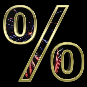 Percent Sign From Firework With Gold Frame Alphabet Set
