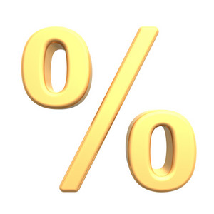 Percent Sign From Gold Alphabet Set