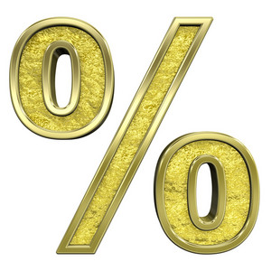 Percent Sign From Gold Cast Alphabet Set