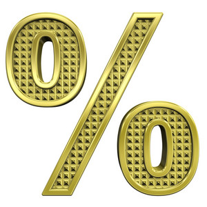 Percent Sign From Knurled Gold Alphabet Set