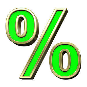 Percent Sign From Light Green With Gold Alphabet Set