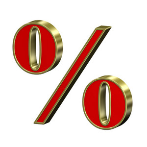 Percent Sign From Red With Gold Frame Roman Alphabet Set, Isolated On White