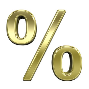 Percent Sign From Shiny Gold Alphabet Set