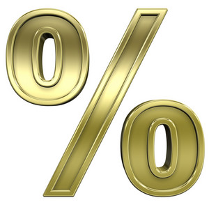 Percent Sign From Shiny Gold With Frame Alphabet Set