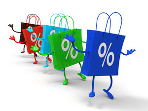 Percent Sign On Shopping Bags Shows Bargains