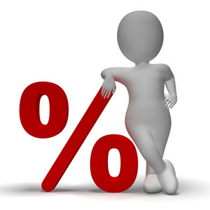 Percent Sign With 3d Man Showing Percentage Or Discount