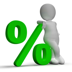 Percent Sign With 3d Man Showing Percentage Or Investment