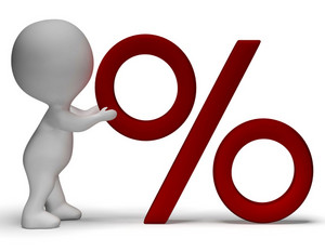 Percent Sign With 3d Man Showing Percentage Or Reductions