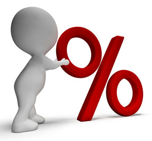 Percent Sign With 3d Man Shows Percentage Or Reductions