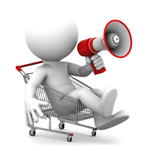 Person Ith Megaphone Inside Shopping Cart