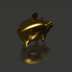 Perspective Gold Piggy-bank