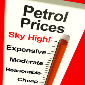Petrol Prices Sky High Monitor Showing Soaring Fuel Expenses