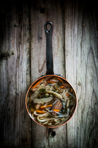 Pho Soup On Wooden Background