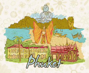 Phuket Doodles Vector Illustration