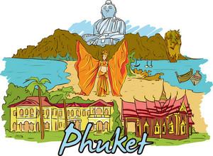 Phuket Vector Doodle