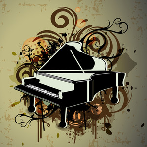 Piano with retro grungy pattern