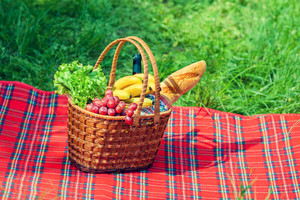 Picnic basket with fruits on the blanket