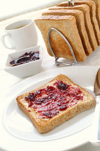Sliced Toasted Brown Bread With Jam