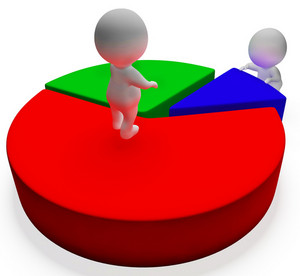 Pie Chart And 3d Characters Showing Statistics Report