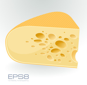 Piece Of Cheese On White. Vector.