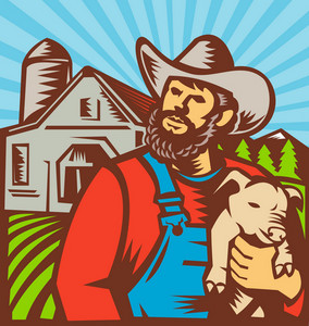 Pig Farmer Holding Piglet Barn Retro