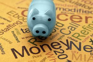 Piggy Bank On Money Text