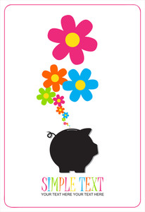 Piggy Bank With Flowers. Vector Illustration.