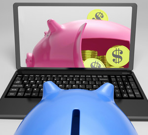 Piggy Vault With Coins Showing Bank Account