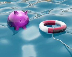 Piggy With Lifebuoy Shows Life Savings Protected
