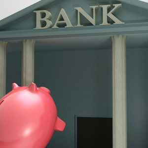 Piggybank Entering Bank Showing Monetary Lift