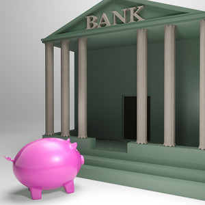 Piggybank Entering Bank Shows Money Loan