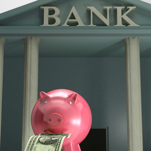 Piggybank On Bank Showing Safety Saving