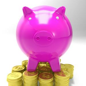 Piggybank On Coins Showing Savings