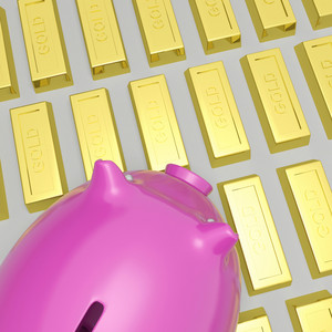 Piggybank On Gold Bars Shows Wealth