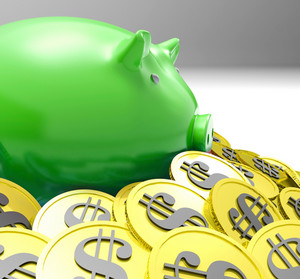 Piggybank Surrounded In Coins Shows American Finances