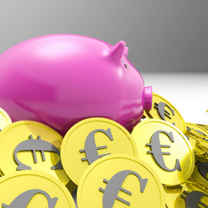 Piggybank Surrounded In Coins Shows European Economy