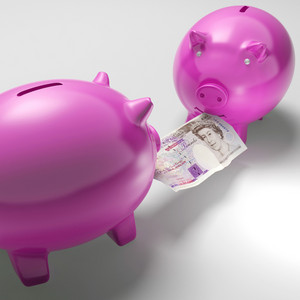 Piggybanks Fighting Over Money Showing Savings