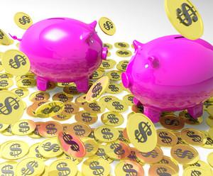 Piggybanks On Coins Showing American Banking