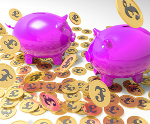 Piggybanks On Coins Showing Britain Incomes