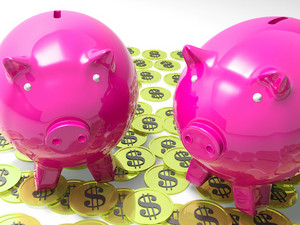 Piggybanks On Coins Shows American Earnings