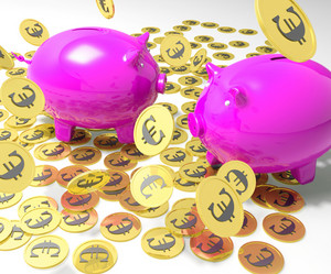 Piggybanks On Coins Shows European Financial Status