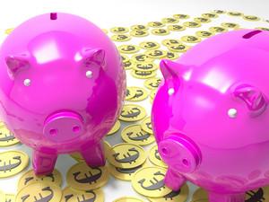 Piggybanks On Euro Coins Showing European Savings