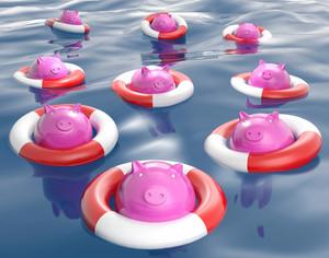 Piggybanks On Lifesavers Showing Monetary Help