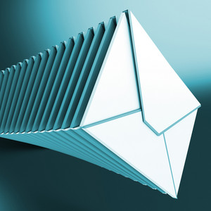 Piled Envelopes Shows Inbox Messages On Computer
