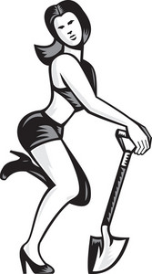 Pin-up Girl With Shovel Spade Retro
