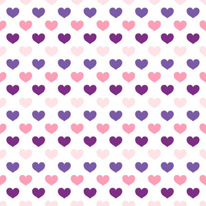 Pink And Purple Hearts Pattern On A White Background