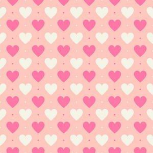 Pink And White Hearts Pattern