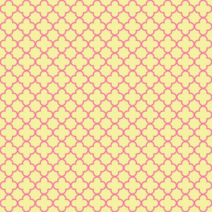 Pink And Yellow Quatrefoil Pattern