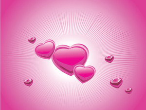 Pink Banner With Hearts Vector Illustration