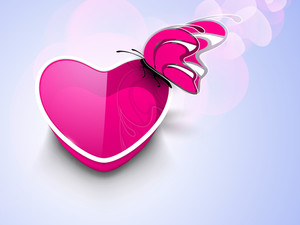 Pink Butterfly On Glossy Pink Heart